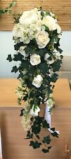 Wedding Flower Bridal Teardrop Bouquet, Vintage Ivory Rose Display. Trailing Ivy