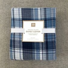 Pottery Barn Teen queen Pacific Plaid Duvet Cover only blue