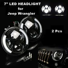 Pair 7 Inch LED Hi/Lo Beam Halo Headlights DRL Jeep Wrangler JK 1997-2016