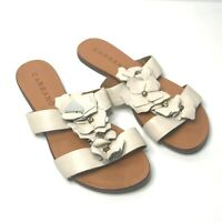 Carrano UK Size 7 Women's Leather White Brown Flower Flat Sandals Made In Brazil