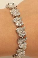 18K White Gold Finish Diamond 2 Carat Tennis Bracelet nsion Lock Elegant