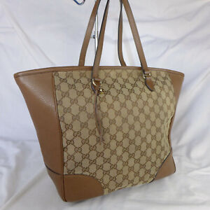 Authentic Rare Gucci Bree Brown GG Monogram Canvas Large Tote Handbag Purse VGC