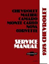 1978 Camaro Caprice Corvette El Camino Shop Service Repair Manual