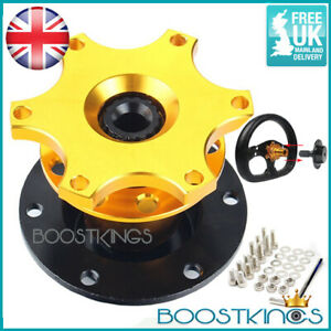 GOLD QUICK RELEASE SNAP OFF STEERING WHEEL HUB BOSS KIT GROUP N RACE RALLY