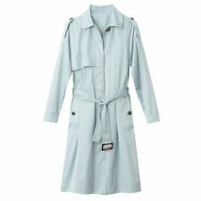 La Redoute Cotton Pale Blue Green Long Trench Coat Size 18 Belted Quality RRP£99