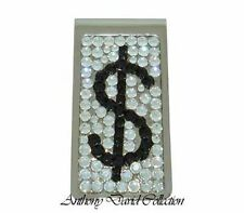 Men's Silver Crystal Metal Money Clip with Swarovski Crystals - Dollar Sign