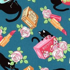 Cosmo Fabrics Black Cat 8901 2C Black Cats and Make up on Blue BTY Cotton Fabric