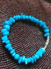"""Beautiful Lucite Turquoise Beads w/ Silver tone twist clasp Bracelet Approx 8"""""""