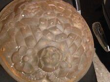 Vasque coupole lustre verre dépoli rose fleur et dessin géométrique