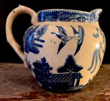 "Antique Buffalo Pottery ,Blue Willow Jug Pitcher 1909 Semi Vitreous .Oriental 5"""