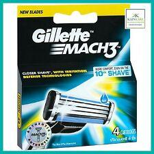 Gillette Mach3 NEW Shaving Razor Blades - 4 Pack 100% Genuine Mach 3 - QUICK P&P
