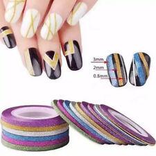 10 Rolls Laser Glitter Striping Tape Lines Nail Sticker Nail Art DIY Tips Decal
