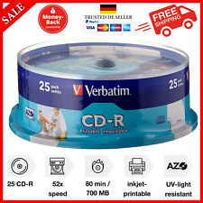 Verbatim CD-R AZO Wide Inkjet Printable 700 MB I 25er Pack Spindel I CD Rohlinge