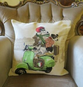 COLLIE & WHIPPET GREYHOUND RIDING VESPA TAPESTRY PILLOW CUSHION COVER ONLY