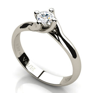 0.30 CT Round Diamond Twisted Solitaire Ring 18K White Gold H Clarity VS1 NEW