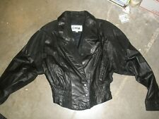 CHIA Vintage Size LARGE Black Leather Jacket Womens Biker