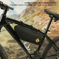Bike Bicycle Triangle Frame Bag Front Top Tube Cycling Black Pouch With Zipper