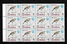 Gambia, 1966 Birds 0.5d Red-cheeked Cordon Bleu, MNH marginal block of 12 (G083)