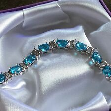 "GB Aquamarine oval gems silver bracelet (white gold filled) 7.25"" BOXD PlumUK"