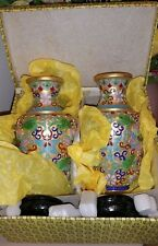 "Vintage Chinese Jingfa Aqua Floral Cloisonne 6"" Vase Matched Set w/Stands in Box"