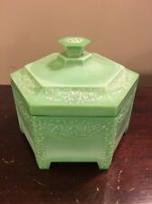 1920s Vtg 1930s Ramses Green Agate Glass Art Deco Vanity Powder Jar Ivy Motif