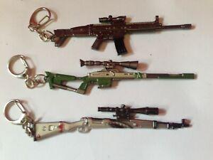 3 Metal gun replica  keyring sniper rifle toy accessory