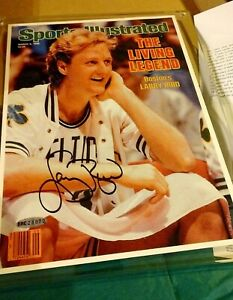 Larry Bird autographed signed 1986 Celtics UDA Sports Illustrated cover w/holder