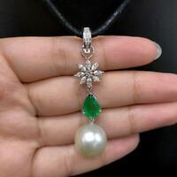 Ladies Elegant Designer Drop Pendant Necklace Pearl Emerald in 14k White Gold FN