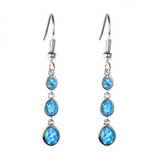 Blue Fire Opal Charm Earring Pendant New 1 Pair Woman Fashion 925 Silver Jewelry