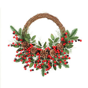 Christmas Rattan Wreath Garland Pine Cones Branches Red Berries Xmas Tree Decor
