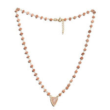 """925 Sterling Silver 14K Yellow Gold Over Peach Moonstone Necklace Size 18"""" Ct 25"""