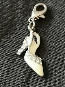 Lovely Silver Plated Clip On High heel White Enamel Crystal Charm