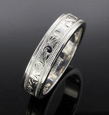 Hand engraved sterling silver wedding band size 11