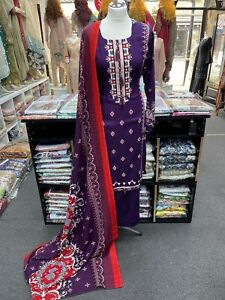 Brand New Linen Pakistani Shalwar  Qameez Ladies Ready Made Asian Suit 3piece