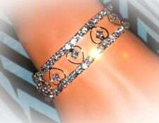Elegant Crystal Rhinestone Heart Bracelet Stretch Silver Bridal Jewelry