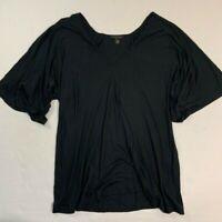 • KIKI de MONTPARNASSE • Short Sleeve V-neck Black Rayon Shirt Top Small