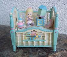 Rare Enesco Precious Moments Baby Girl Crib Action Music Box Musical Go To Sleep