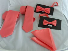 """Coral-Salmon Polyester Tie >Classic-3.3"""" OR Skinny 2.5"""" OR BOYS Bow tie OR Sets"""