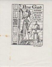 Ex-libris René GIARD (1880-1940), libraire-éditeur à Lille (Nord).