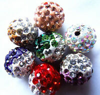 10X Colorful Crystal Pave Clay Disco Ball Round Loose Spacer Beads Making 10MM