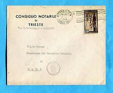 1949 TRIESTE - E.R.P £.20 ISOLATO su lettera non filatelica in tariffa  (268996)