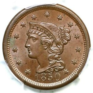 1850 N-22 R-3+ PCGS MS 65+ BN CAC CC#7 Braided Hair Large Cent Coin 1c