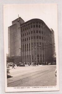 VINTAGE POSTCARD RPPC COMMONWEALTH BANK, HOBART TASMANIA 1900s