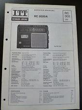Original Service ManuaI  ITT Schaub-Lorenz RC 2020A