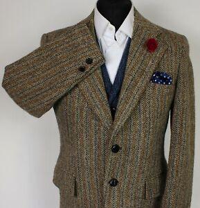 Harris Tweed Blazer Jacket Brown Vintage 40R RARE 1970's TWEED X258