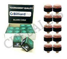 12 PIECES / BOX PRO TOURNAMENT GREEN SNOOKER POOL CUES CHALKS & 10 x 11mm TIPS