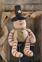 Candy Cane Burlap Snowman Primitive Country Christmas Farmhouse Winter Holiday