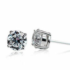 Mens Clear CZ 6mm Round Czech Crystal Stone Hip Hop Bling stud Earrings