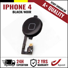 A+ Home Nappe Replacement Button Bouton Assembly & Flex Cable Black For iPhone 4