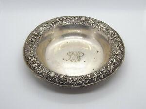 Vintage S Kirk & Sons Sterling Silver Repousse Bon Bon Bowl #407, with Monogram